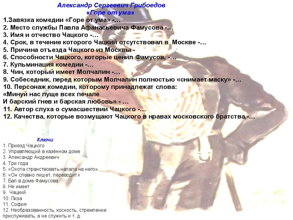 Александр Сергеевич Грибоедов «Горе от ума» 1.Завязка комедии «Горе от ума»...