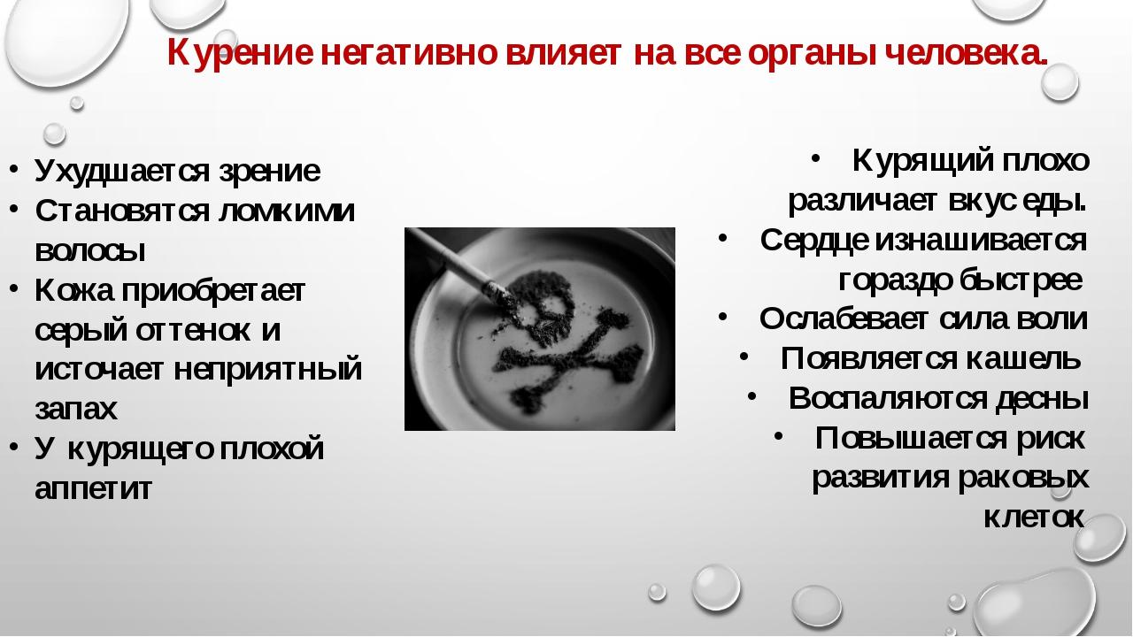 Курение негативно влияет на все органы человека. Ухудшается зрение Становятся...