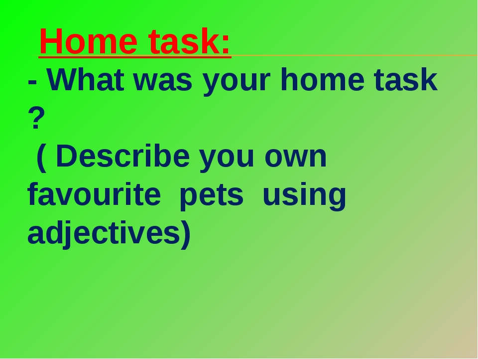 Home task: - What was your home task ? ( Describe you own favourite pets usin...