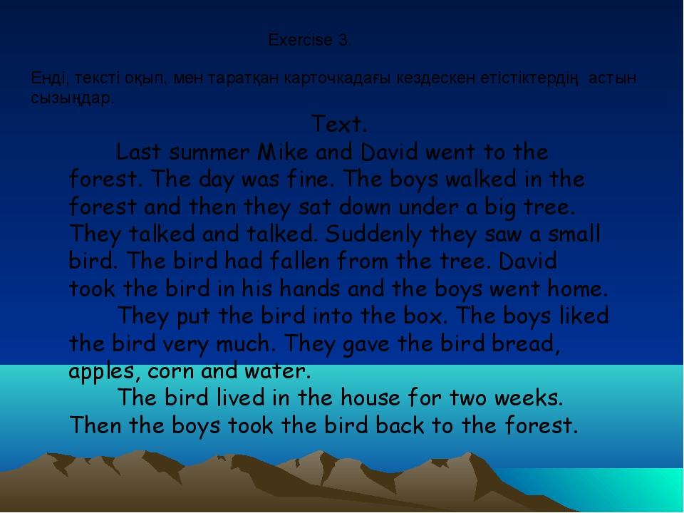 Text. Last summer Mike and David went to the forest. The day was fine. The bo...
