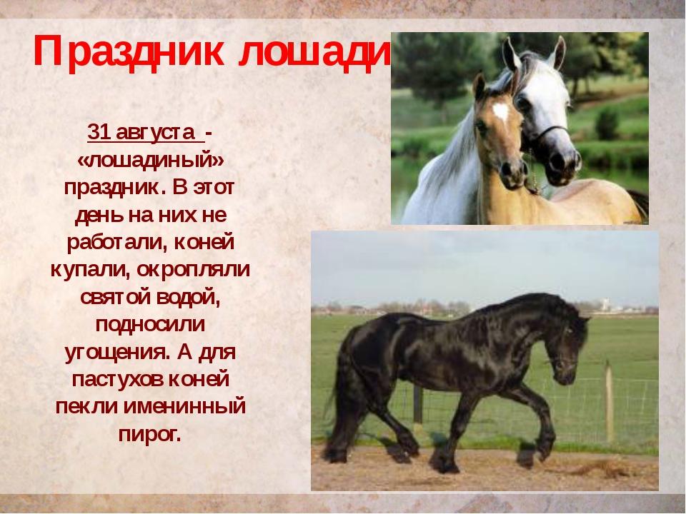 Праздник лошади 31 августа - «лошадиный» праздник. В этот день на них не рабо...