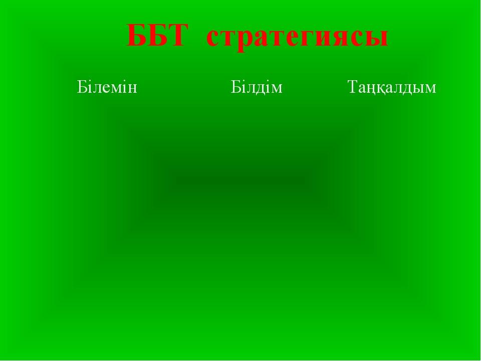 ББТ стратегиясы БілемінБілдімТаңқалдым