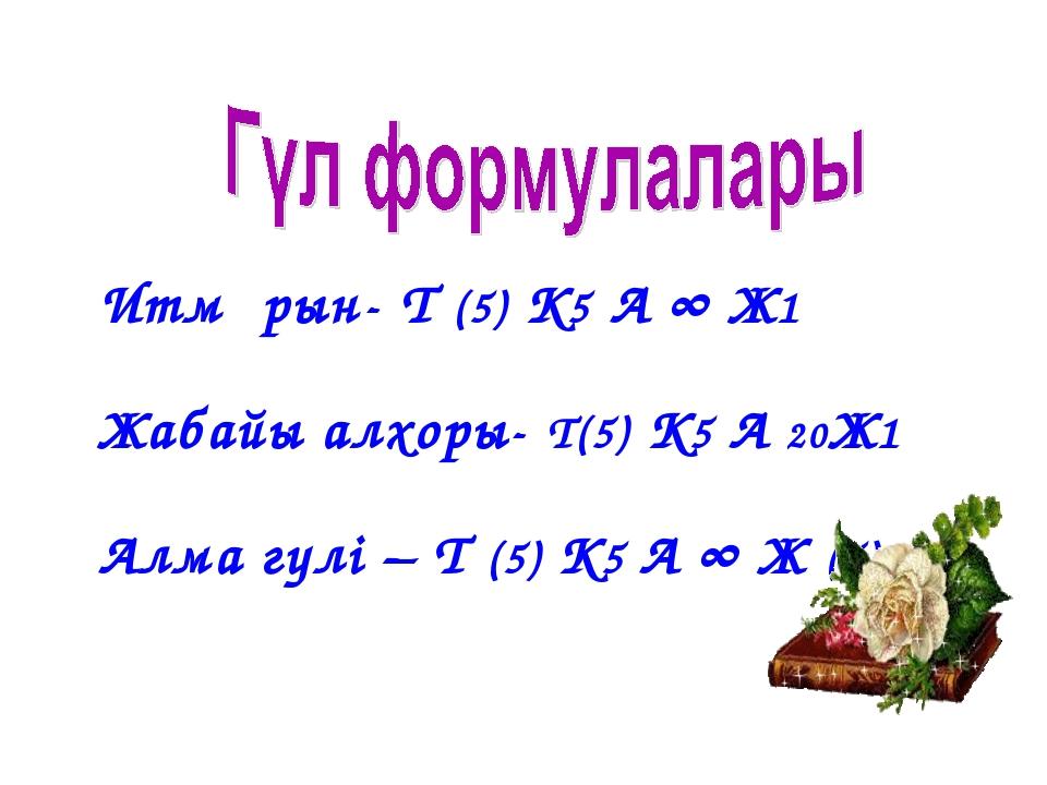 Итмұрын- Т (5) К5 А ∞ Ж1 Жабайы алхоры- Т(5) К5 А 20Ж1 Алма гүлі – Т (5) К5...