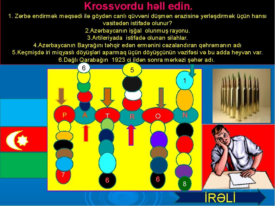 Krossvordu həll edin. 1. Zərbə endirmək məqsədi ilə göydən canlı qüvvəni düş...