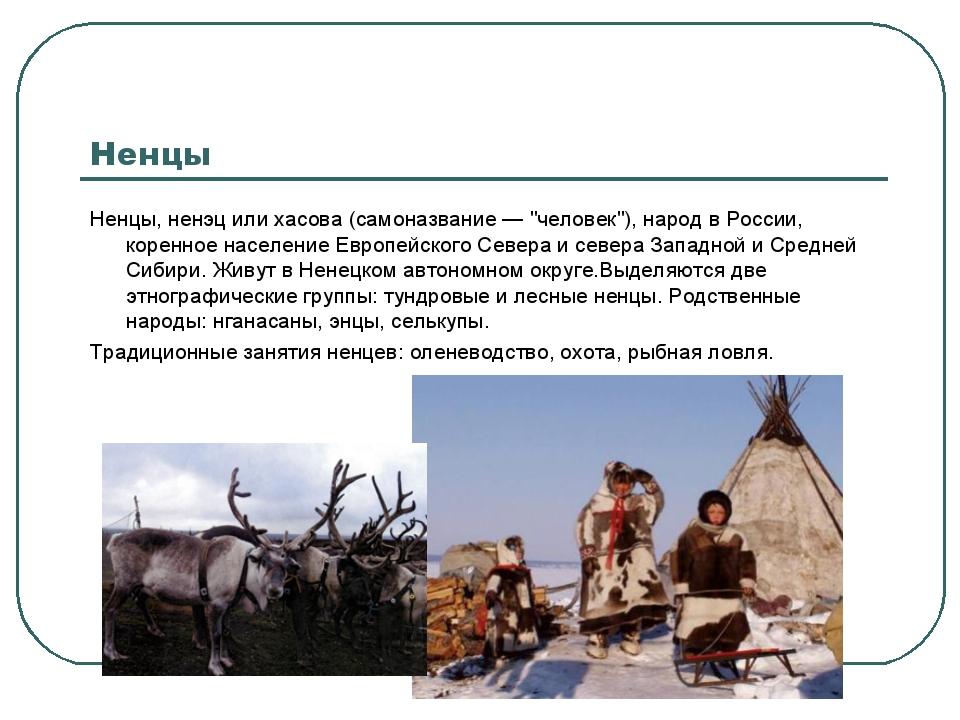 """Ненцы Ненцы, ненэц или хасова (самоназвание — """"человек""""), народ в России, кор..."""