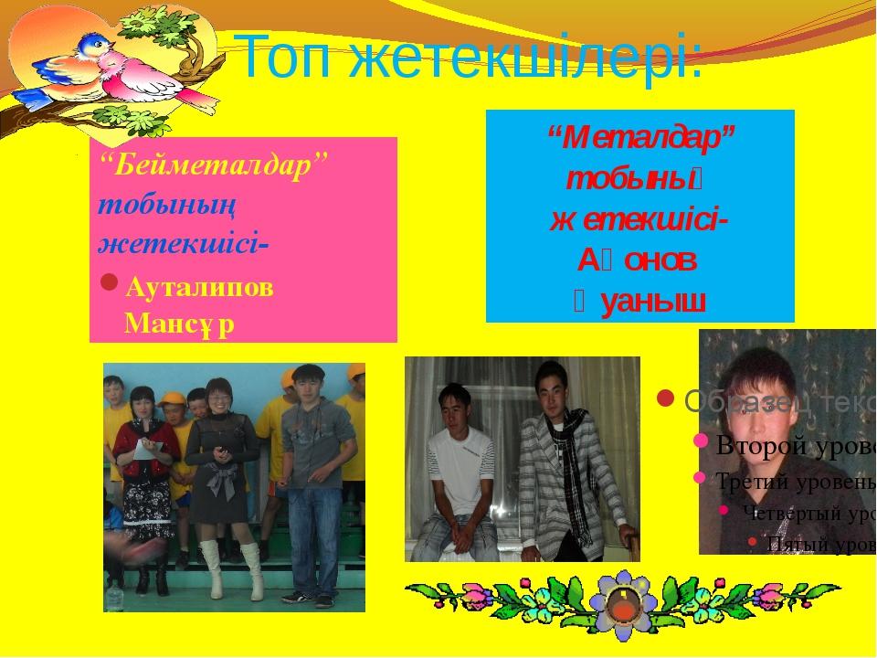 """Топ жетекшілері: """"Бейметалдар"""" тобының жетекшісі- Ауталипов Мансұр """"Металдар""""..."""