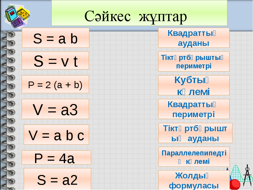 Сәйкес жұптар S = a b P = 4a S = v t S = a2 V = a b c P = 2 (a + b) V = a3 К...