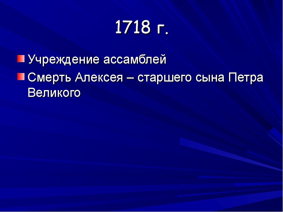 1718 г. Учреждение ассамблей Смерть Алексея – старшего сына Петра Великого