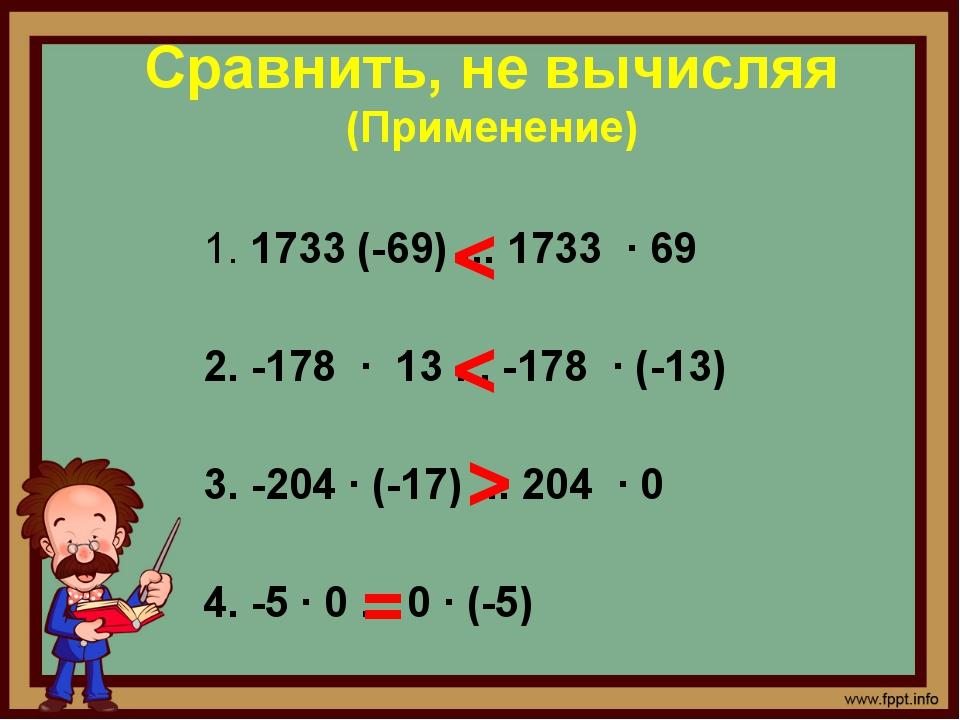 Сравнить, не вычисляя (Применение) < < > =  1.1733 (-69) ... 1733 · 69 2. -...