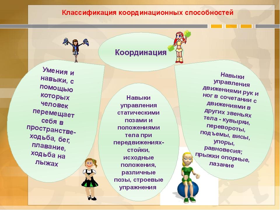 Классификация координационных способностей Координация Умения и навыки, с пом...