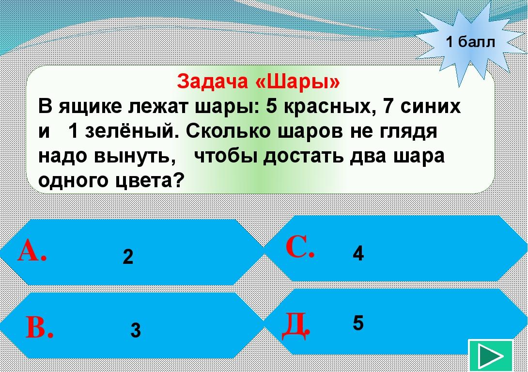 1 балл А. В. С. Д. 3 Задача «Шары» В ящике лежат шары: 5 красных, 7 синих и...