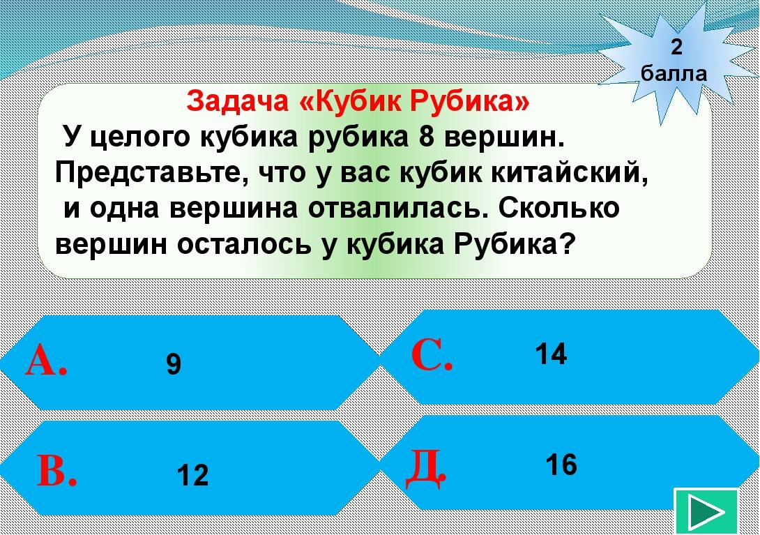 2 балла А. В. С. Д. 14 Задача «Кубик Рубика» У целого кубика рубика 8 вершин...