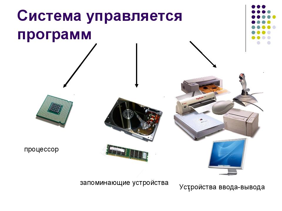 Система управляется программ процессор запоминающие устройства Устройства вво...