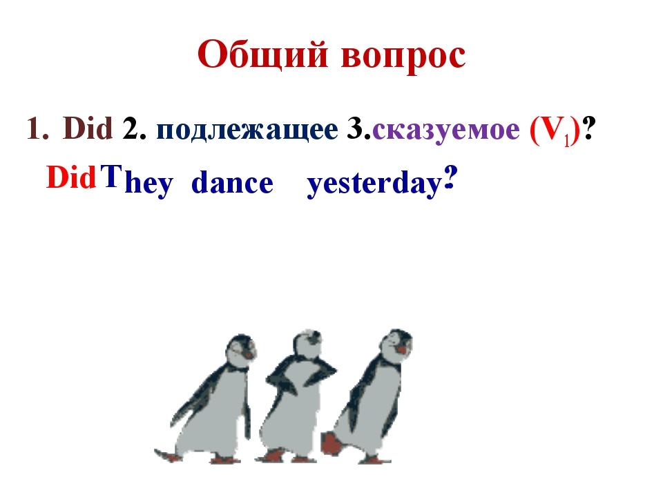 Общий вопрос Did 2. подлежащее 3.сказуемое (V1)? hey dance yesterday Did T . ?