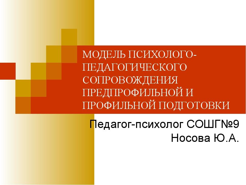 МОДЕЛЬ ПСИХОЛОГО- ПЕДАГОГИЧЕСКОГО СОПРОВОЖДЕНИЯ ПРЕДПРОФИЛЬНОЙ И ПРОФИЛЬНОЙ П...