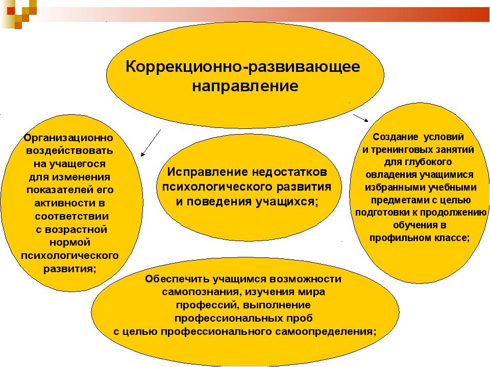 Коррекционно-развивающее направление Организационно воздействовать на учащего...