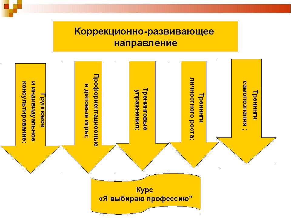Коррекционно-развивающее направление Групповое и индивидуальное консультирова...