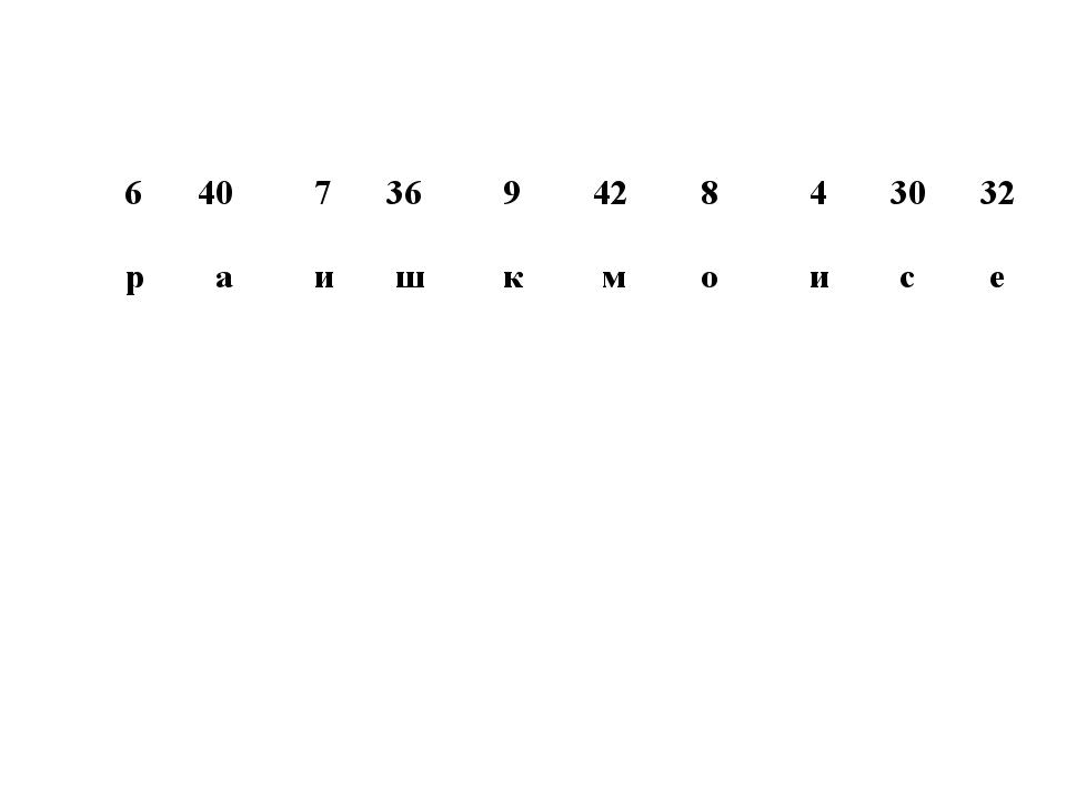 6 40 7 36 9 42 8 4 30 32 р а и ш к м о и с е