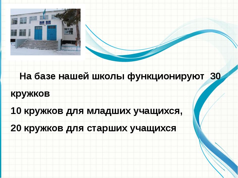 На базе нашей школы функционируют 30 кружков 10 кружков для младших учащихся...