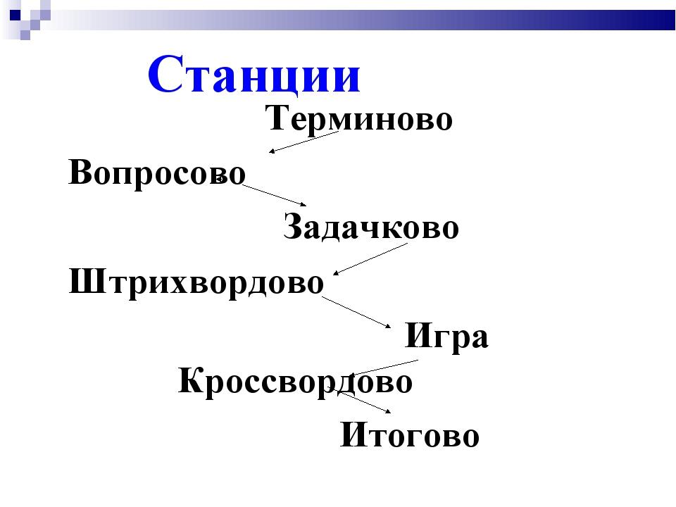 Станции Терминово Вопросово Задачково Штрихвордово Игра Кроссвордово Итогово