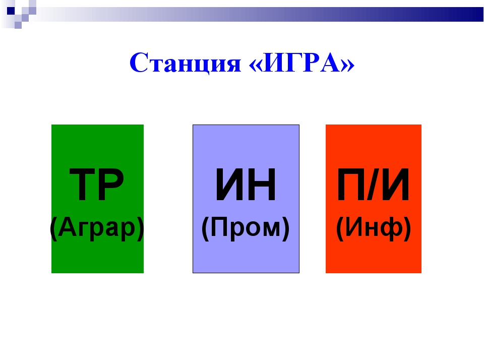 Станция «ИГРА» ТР (Аграр) ИН (Пром) П/И (Инф)