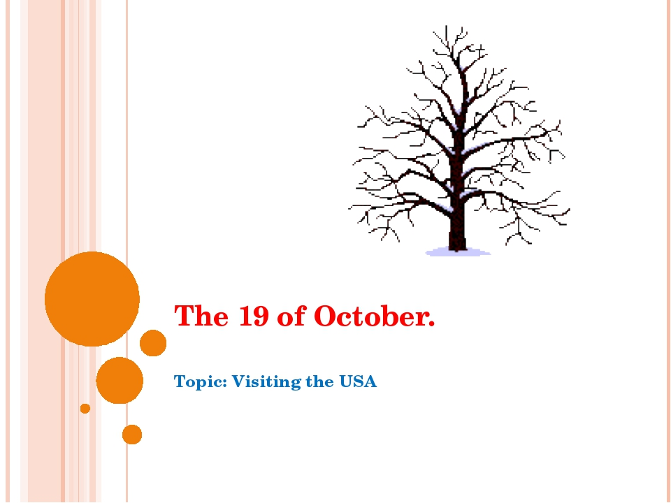 The 19 of October. Topic: Visiting the USA
