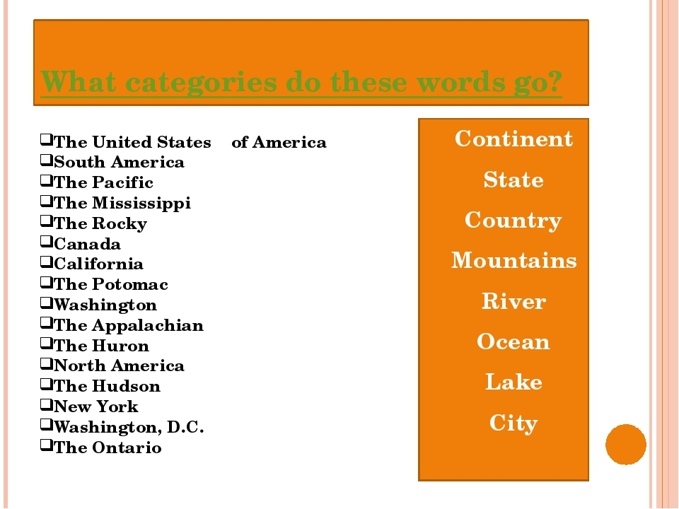 What categories do these words go? Continent State Country Mountains River Oc...