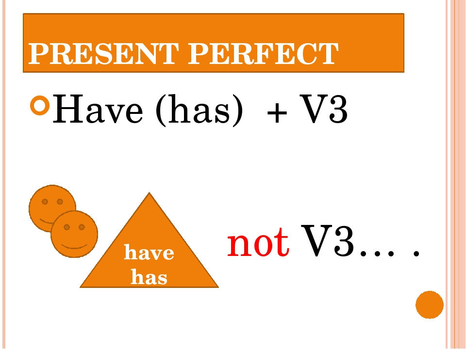 PRESENT PERFECT Have (has) + V3 have has not V3… .