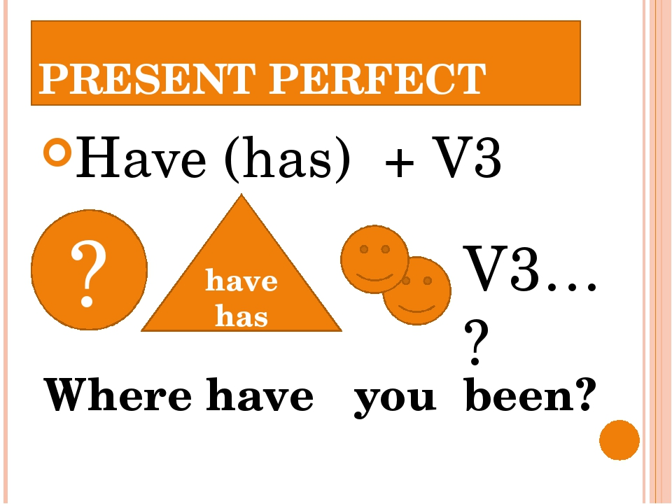 PRESENT PERFECT Have (has) + V3 have has V3… ? ? Where have you been?