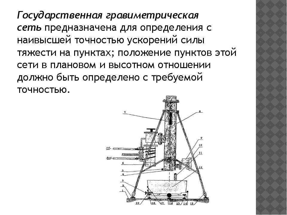 Государственная гравиметрическая сетьпредназначена для определения с наивысш...