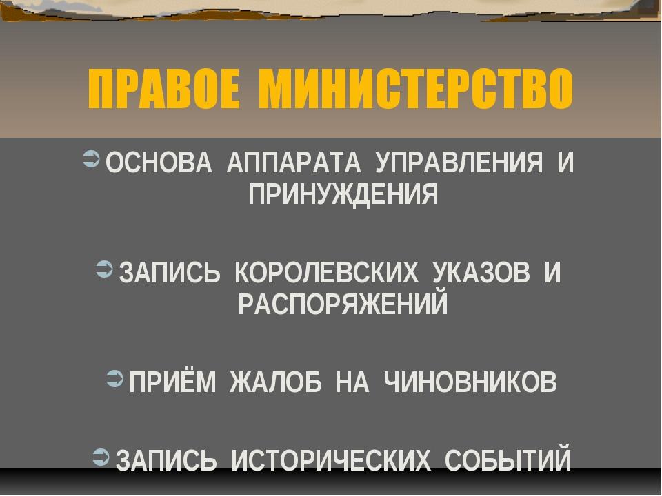 ПРАВОЕ МИНИСТЕРСТВО ОСНОВА АППАРАТА УПРАВЛЕНИЯ И ПРИНУЖДЕНИЯ ЗАПИСЬ КОРОЛЕВСК...