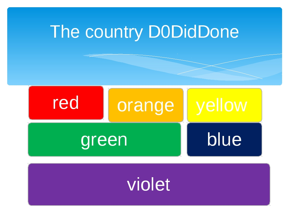 The country D0DidDone violet green yellow red blue orange