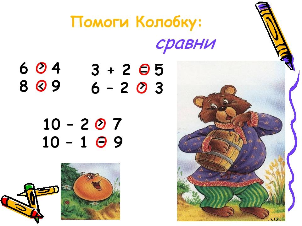 Помоги Колобку: сравни 6 О 4 8 О 9 3 + 2 О 5 6 – 2 О 3 10 – 2 О 7 10 – 1 О 9...