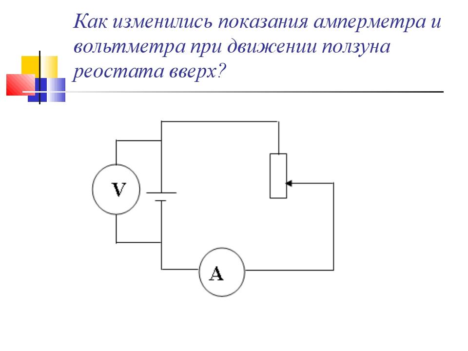 Как изменились показания амперметра и вольтметра при движении ползуна реостат...