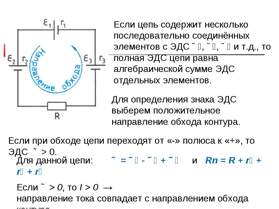Если цепь содержит несколько последовательно соединённых элементов с ЭДС Ɛ₁,...