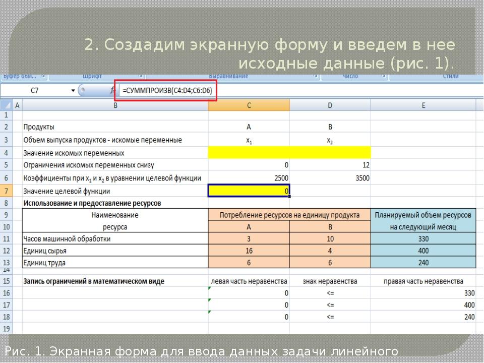 2. Создадим экранную форму и введем в нее исходные данные (рис. 1). Рис. 1. Э...