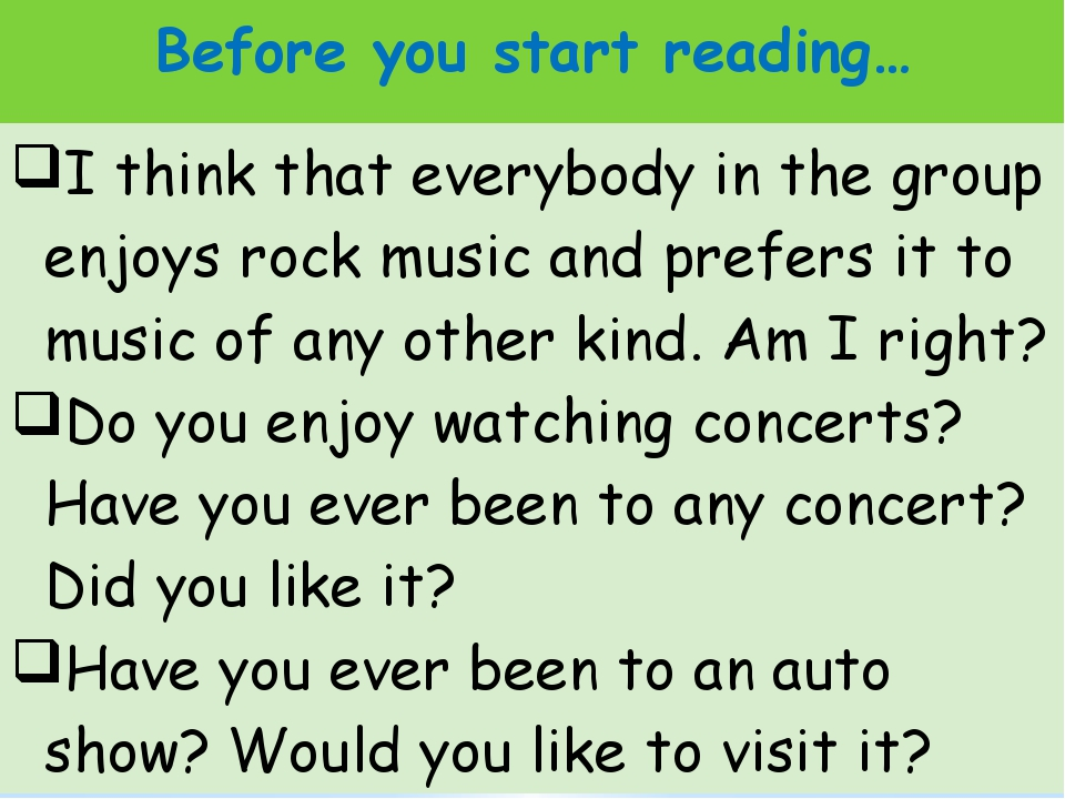 Before you start reading… I think that everybody inthe group enjoys rock musi...