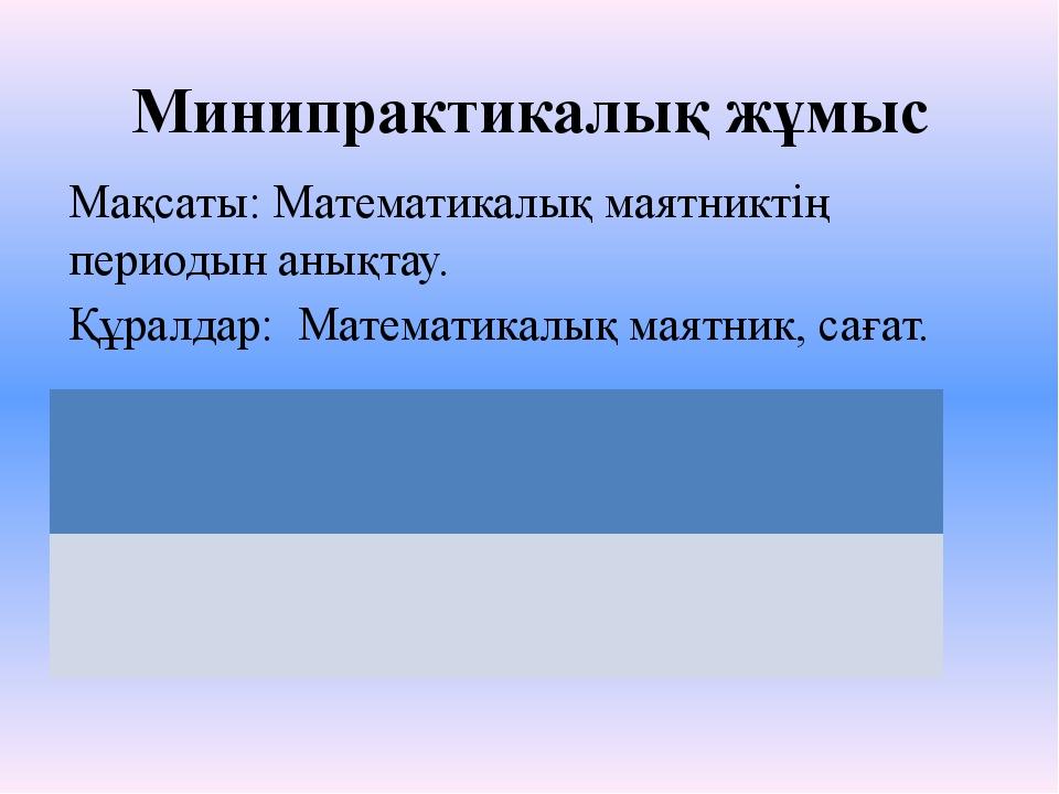 Минипрактикалық жұмыс Мақсаты: Математикалық маятниктің периодын анықтау. Құр...