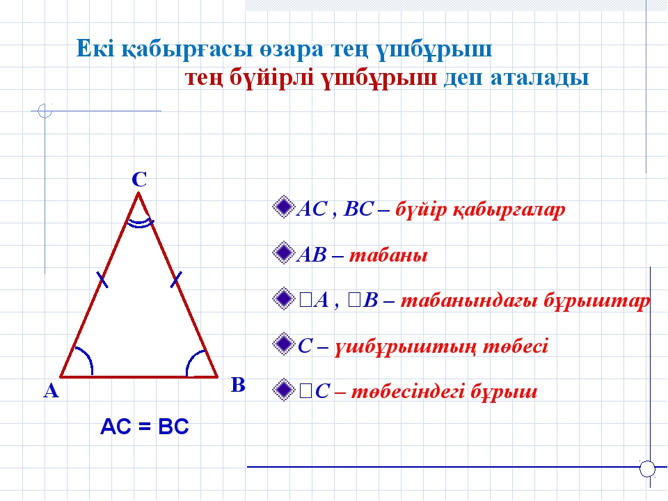 Екі қабырғасы өзара тең үшбұрыш тең бүйірлі үшбұрыш деп аталады B A C АС , ВС...