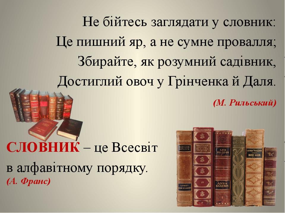 Не бійтесь заглядати у словник: Це пишний яр, а не сумне провалля; Збирайте,...