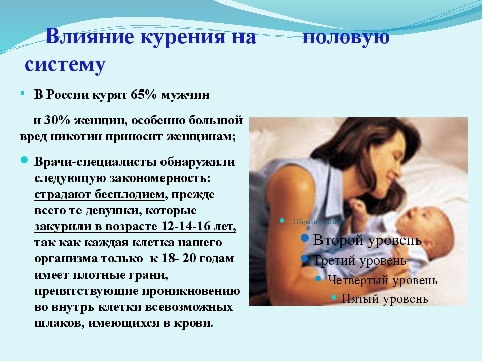 Влияние курения на  половую систему В России курят 65% мужчин и 30% жен...