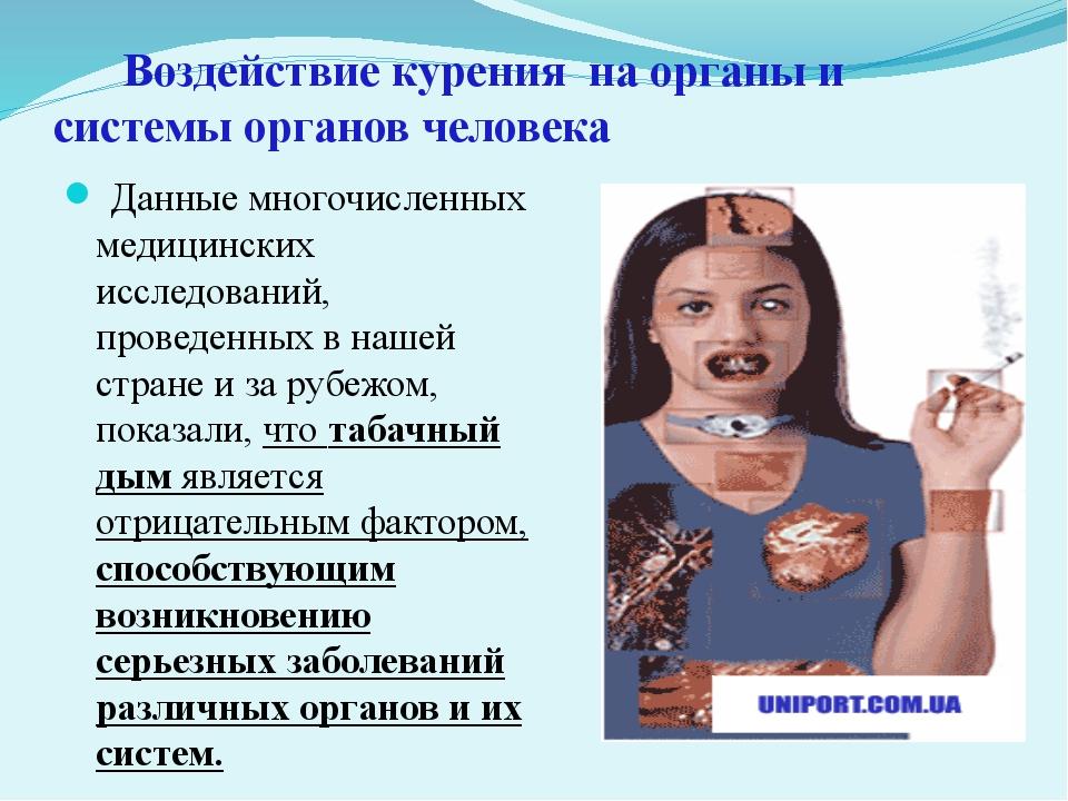 Воздействие курения на органы и  системы органов человека Данные многочисл...