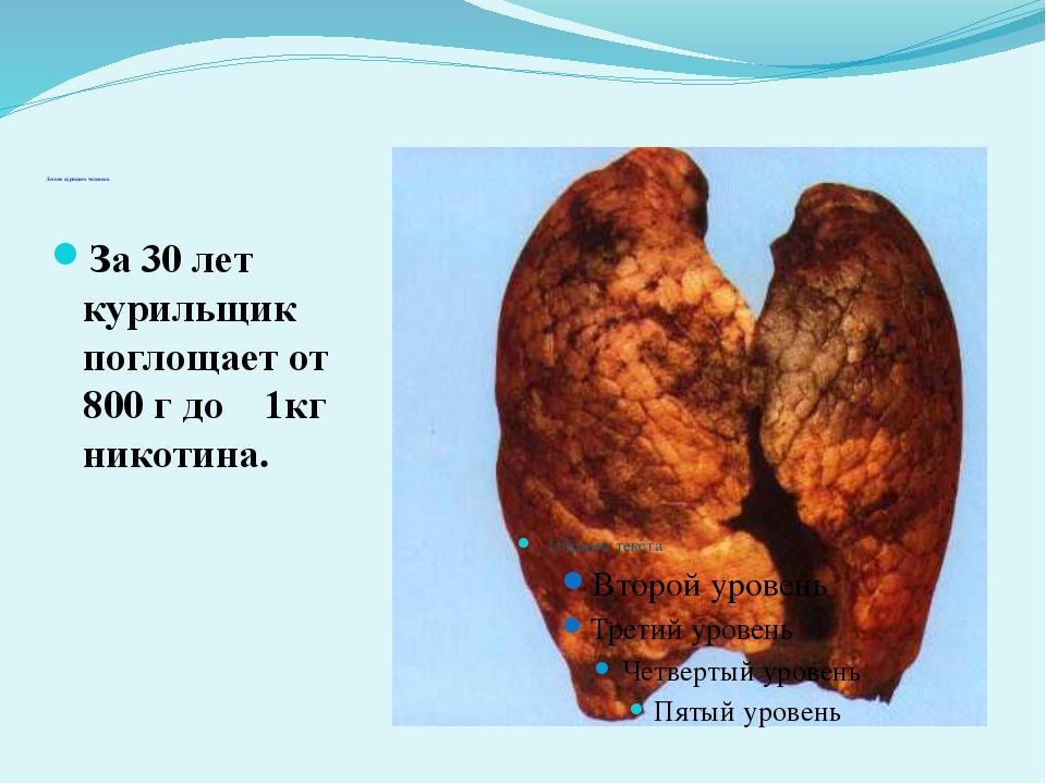 Легкие курящего человека За 30 лет курильщик поглощает от 800 г до 1кг ни...