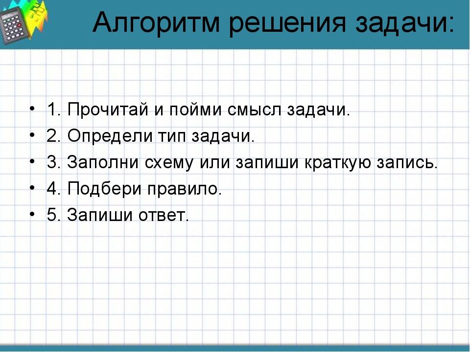 Алгоритм решения задачи: 1. Прочитай и пойми смысл задачи. 2. Определи тип за...