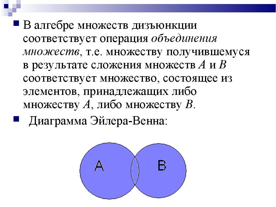 В алгебре множеств дизъюнкции соответствует операция объединения множеств, т....