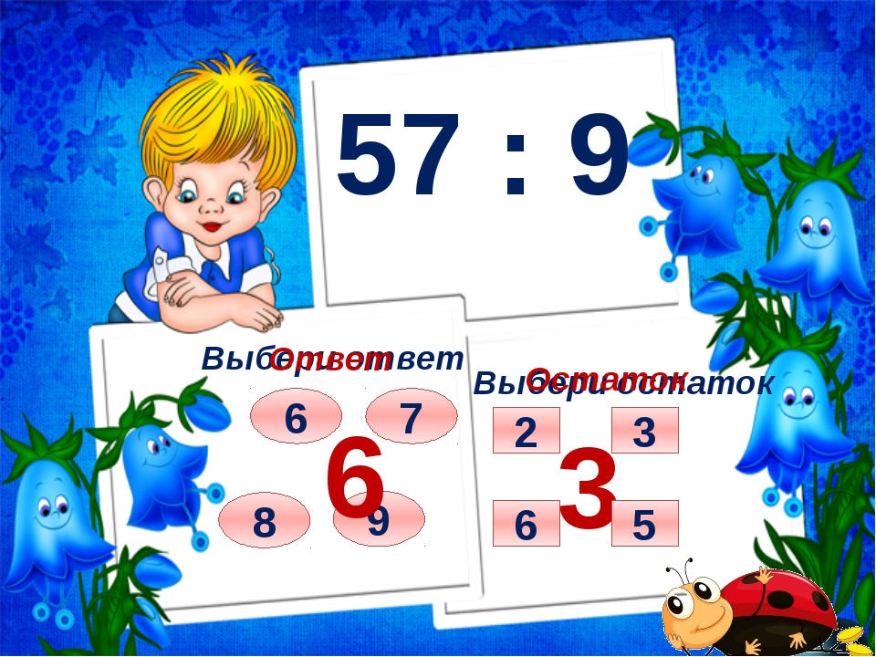 57 : 9 Выбери ответ Выбери остаток 8 7 6 9 Ответ 6 Остаток 3 3 5 2 6