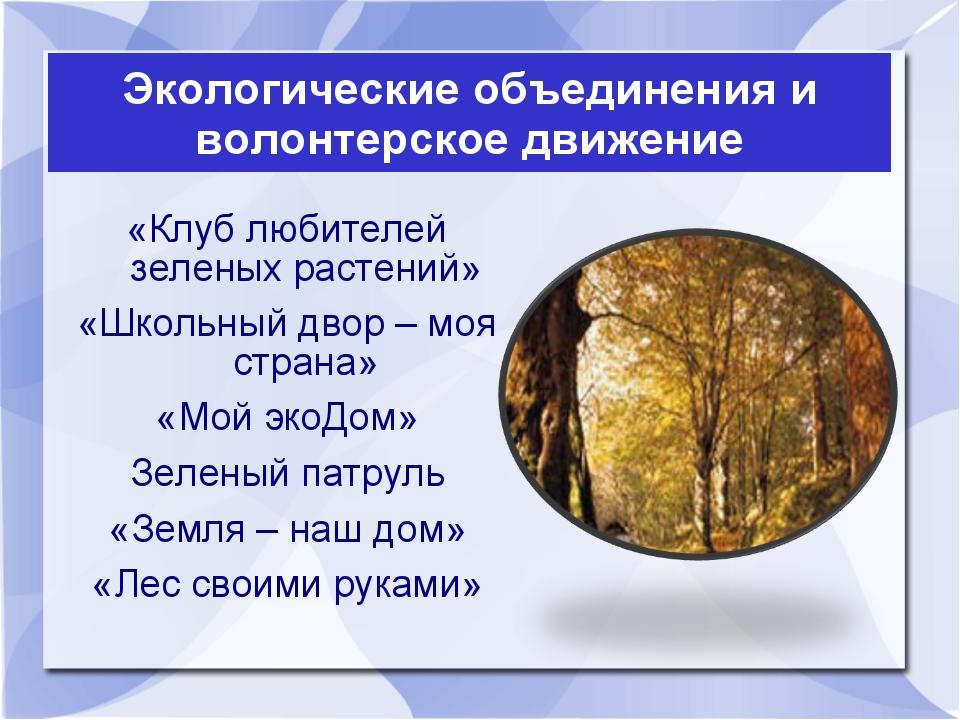 Экологические объединения и волонтерское движение «Клуб любителей зеленых рас...