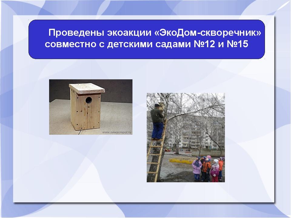 Проведены экоакции «ЭкоДом-скворечник» совместно с детскими садами №12 и №15