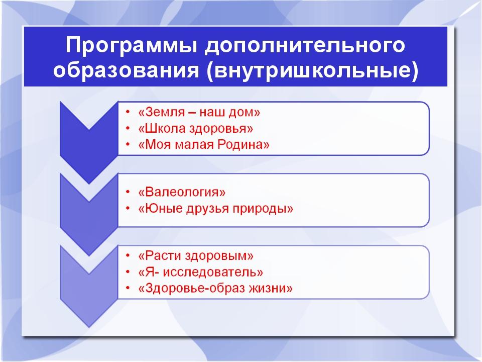 Программы дополнительного образования (внутришкольные)