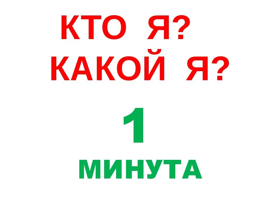КТО Я? КАКОЙ Я? 1 МИНУТА